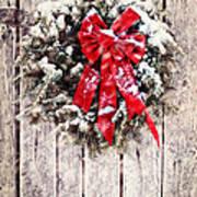Christmas Wreath On Barn Door Art Print