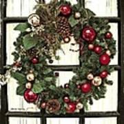 Christmas Wreath On Black Door Art Print