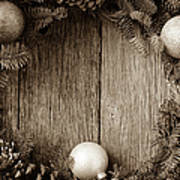 Christmas Wreath With Ornaments And Pine Cones On Rustic Wood Ba Art Print