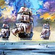Christopher Columbus's Fleet  Art Print