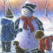 Chubby Snowman  Art Print