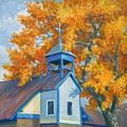 Church And Cottonwoods Art Print
