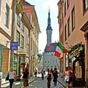 Church At End Of Street In Old Town Tallinn-estonia Art Print