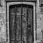 Church Door Bw Art Print