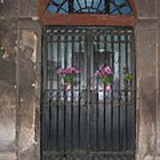 Church Doors And Flowers Art Print