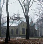 Church In The Misty Woods Art Print