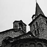 Church Of The Assumption Of Mary In Bossost - Abse And Tower Bw Art Print