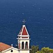 Church On The Top Of The Bohali Hill In Zakynthos Greece  Art Print