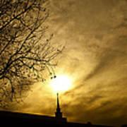 Church Steeple Clouds Parting Art Print