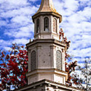 Church Steeple In Autumn Blue Sky Clouds Fine Art Prints As Gift For The Holidays Art Print