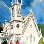 Church With Jet Contrail Art Print