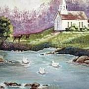 Church With Pond Art Print