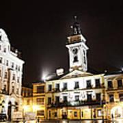 Cieszyn Town Center At Night Art Print