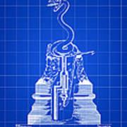Cigar Lighter Patent 1888 - Blue Art Print