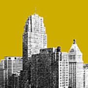 Cincinnati Skyline 2 - Gold Art Print