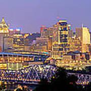 Cincinnati Skyline at Dusk Sunset Color Panorama Ohio Art Print