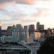 Cincinnati Skyline At Sunset Form The Top Of Mount Adams 2 Art Print