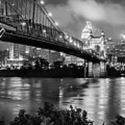 Cincinnati Skyline - John Roebling Bridge And Ohio River Print by Gregory Ballos