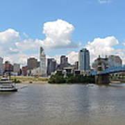 Cincinnati Skyline With A Boat Art Print