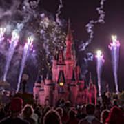Cinderella's Castle With Fireworks Art Print by Adam Romanowicz