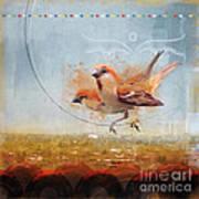 Cinnamon Sparrows Art Print
