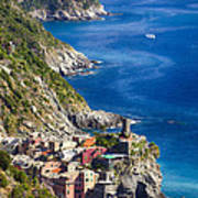 Cinque Terre Towns On The Cliffs Art Print by George Oze