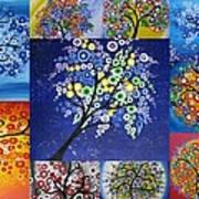 Circle Tree Collage Art Print