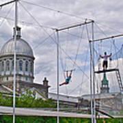 Cirque Carpe Diem Near Quays Along Saint Lawrence River In Montreal-qc Art Print