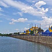 Cirque De Soleil Tents Near Quays Along Saint Lawrence River In Montreal-qc Art Print
