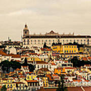 City And Cathedral Lisbon Portugal Art Print