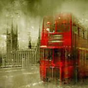 City-art London Red Buses Art Print by Melanie Viola