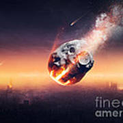 City Destroyed By Meteor Shower Art Print
