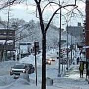 City In Snow Art Print