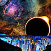 City In Space Art Print by Bruce Iorio