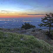 City Lights From Sunrise Point At Mt. Nebo - Arkansas Art Print