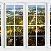 City Lights White Window Frame View Art Print
