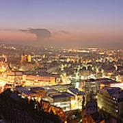 City Lit Up At Night, Esslingen Art Print