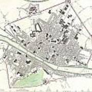 City Map Or Plan Of Florence Or Firenze Art Print