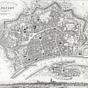 City Map Or Plan Of Frankfort Germany Art Print