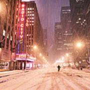 City Night In The Snow - New York City Art Print
