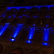 City Night Walks - Blue Highlights Facade Art Print