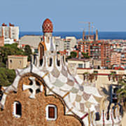 City Of Barcelona From Park Guell Art Print