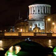 City Of Dublin At Night In Ireland Art Print