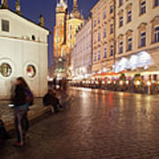 City Of Krakow By Night In Poland Art Print