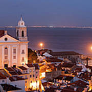 City Of Lisbon In Portugal At Night Art Print