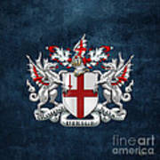City Of London - Coat Of Arms Over Blue Leather  Art Print