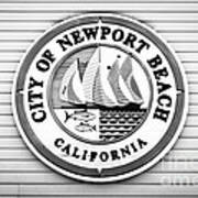 City Of Newport Beach Sign Black And White Picture Art Print