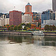 City Of Portland Oregon In The Fall Panorama Art Print