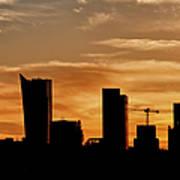 City Of Warsaw Skyline Silhouette Art Print