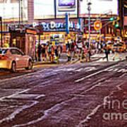 City Scene - Crossing The Street - The Lights Of New York Art Print